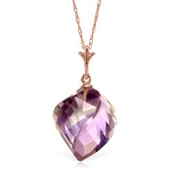 Genuine 10.75 ctw Amethyst Necklace Jewelry 14KT Rose Gold - REF-25Y4F