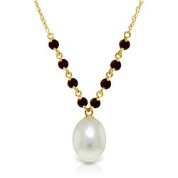 Genuine 5 ctw Pearl & Garnet Necklace Jewelry 14KT Yellow Gold - REF-25H4X