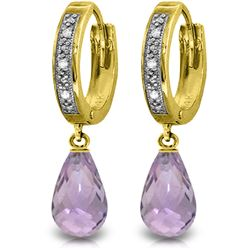 Genuine 4.54 ctw Amethyst & Diamond Earrings Jewelry 14KT Yellow Gold - REF-52R2P