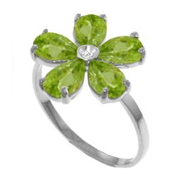 Genuine 2.22 ctw Peridot & Diamond Ring Jewelry 14KT White Gold - REF-35A9K