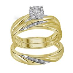 0.14 CTW His & Hers Diamond Solitaire Matching Bridal Ring 10KT Yellow Gold - REF-32K9W