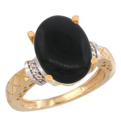Natural 5.53 ctw Onyx & Diamond Engagement Ring 14K Yellow Gold - REF-53A5V