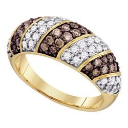 1 CTW Cognac-brown Color Diamond Ring 10KT Yellow Gold - REF-75H2M