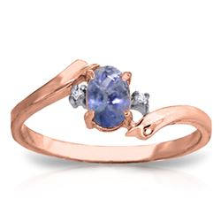 Genuine 0.46 ctw Tanzanite & Diamond Ring Jewelry 14KT Rose Gold - REF-31T9A
