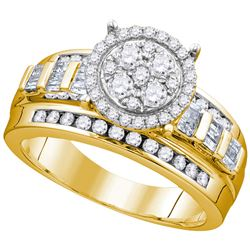 0.52 CTW Diamond Cluster Bridal Engagement Ring 10KT Yellow Gold - REF-37M5H