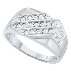 0.50 CTW Mens Pave-set Diamond Triple Row Cluster Ring 10KT White Gold - REF-41Y9X