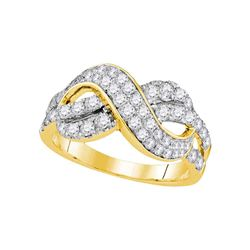 1 CTW Diamond Infinity Crossover Ring 14KT Yellow Gold - REF-89K9W