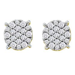 0.52 CTW Pave-set Diamond Flower Cluster Earrings 14KT Yellow Gold - REF-57X2Y