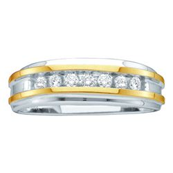 0.25 CTW Mens Channel-set Diamond Wedding Ring 14KT Two-tone Gold - REF-44M9H