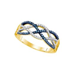 0.25 CTW Blue Color Diamond Woven Strand Ring 10KT Yellow Gold - REF-25M4H