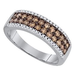 0.80 CTW Cognac-brown Color Diamond 2-row Ring 14KT White Gold - REF-52Y4X