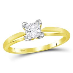 0.72 CTW Princess Diamond Solitaire Bridal Engagement Ring 14KT Yellow Gold - REF-206X2Y