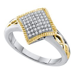 0.15 CTW Diamond Diagonal Square Milgrain Cluster Ring 10KT White Gold - REF-22H4M