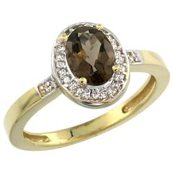 Natural 1.08 ctw Smoky-topaz & Diamond Engagement Ring 10K Yellow Gold - REF-25V5F