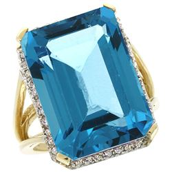 Natural 15.06 ctw London-blue-topaz & Diamond Engagement Ring 10K Yellow Gold - REF-69W3K