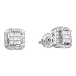 0.33 CTW Princess Diamond Square Cluster Earrings 14KT White Gold - REF-41X9Y