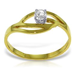 Genuine 0.15 ctw Diamond Anniversary Ring Jewelry 14KT Yellow Gold - REF-42V2W