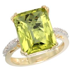Natural 5.48 ctw Lemon-quartz & Diamond Engagement Ring 10K Yellow Gold - REF-37M8H