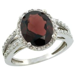 Natural 3.47 ctw Garnet & Diamond Engagement Ring 10K White Gold - REF-38H8W