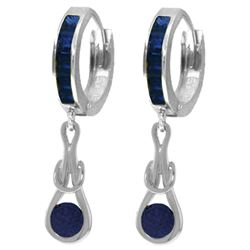 Genuine 2.6 ctw Sapphire Earrings Jewelry 14KT White Gold - REF-84K3V