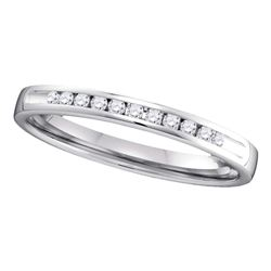 0.10 CTW Diamond Single Row Wedding Ring 14KT White Gold - REF-19H4M