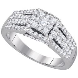 0.78 CTW Diamond Square Cluster Ring 10KT White Gold - REF-59X9Y