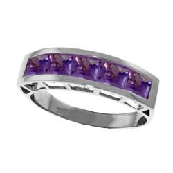 Genuine 2.25 ctw Amethyst Ring Jewelry 14KT White Gold - REF-54A2K