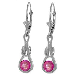 Genuine 1.30 ctw Pink Topaz Earrings Jewelry 14KT White Gold - REF-49A3K