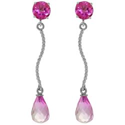 Genuine 4.3 ctw Pink Topaz Earrings Jewelry 14KT White Gold - REF-24V4W