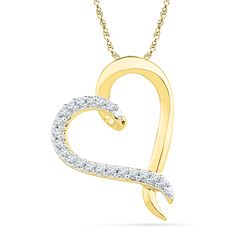 0.10 CTW Diamond Heart Love Pendant 10KT Yellow Gold - REF-8M9H