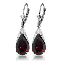 Genuine 10 ctw Garnet Earrings Jewelry 14KT White Gold - REF-62K9V