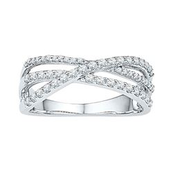 0.50 CTW Diamond Triple Strand Crossover Ring 10KT White Gold - REF-41F9N