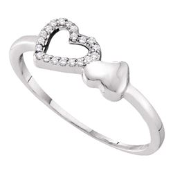 0.05 CTW Diamond Double Heart Ring 10KT White Gold - REF-6Y6X