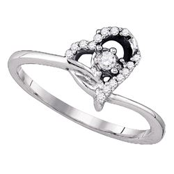 0.10 CTW Diamond Heart Promise Bridal Engagement Ring 10KT White Gold - REF-14H9M