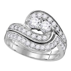 0.51 CTW Diamond 2-Stone Hearts Together Bridal Ring 10KT White Gold - REF-44F9N