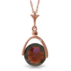 Genuine 4.2 ctw Garnet Necklace Jewelry 14KT Rose Gold - REF-22A3K