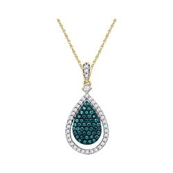 0.60 CTW Blue Color Diamond Teardrop Pendant 10KT Rose Gold - REF-41N9F