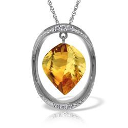 Genuine 11.85 ctw Citrine & Diamond Necklace Jewelry 14KT White Gold - REF-112N4R