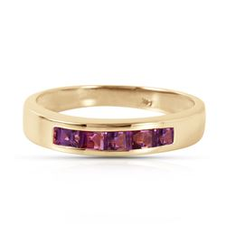 Genuine 0.60 ctw Amethyst Ring Jewelry 14KT Yellow Gold - REF-46V2W
