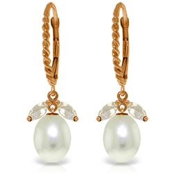 Genuine 9 ctw White Topaz & Pearl Earrings Jewelry 14KT Rose Gold - REF-39T3A