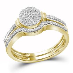 0.25 CTW Diamond Cluster Bridal Engagement Ring 10KT Yellow Gold - REF-26Y9X