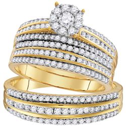 1.23 CTW His & Hers Diamond Solitaire Matching Bridal Ring 14KT Yellow Gold - REF-127Y4X