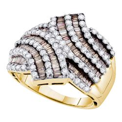 1.75 CTW Brown Color Diamond Bypass Ring 14KT Yellow Gold - REF-124X4Y