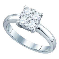 0.16 CTW Diamond Cluster Bridal Engagement Ring 18KT White Gold - REF-49Y5X