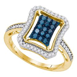 0.50 CTW Blue Color Diamond Indented Rectangle Cluster Ring 10KT Yellow Gold - REF-34Y4X
