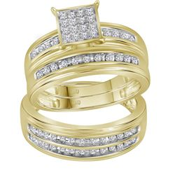 0.53 CTW His & Hers Diamond Matching Bridal Ring 10KT Yellow Gold - REF-67F4N