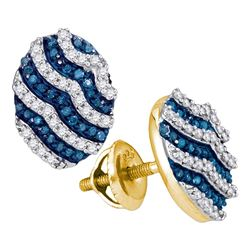 0.45 CTW Blue Color Diamond Oval Cluster Earrings 10KT Yellow Gold - REF-26H9M