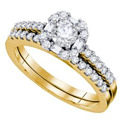0.75 CTW Diamond Halo Bridal Wedding Engagement Ring 14KT Yellow Gold - REF-97K4W