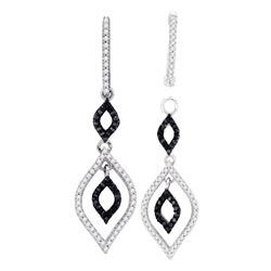 0.50 CTW Black Color Diamond Oval Dangle Earrings 10KT White Gold - REF-41K9W