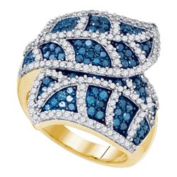 2 CTW Blue Color Diamond Leaf Flower Fashion Ring 10KT Yellow Gold - REF-97F4N